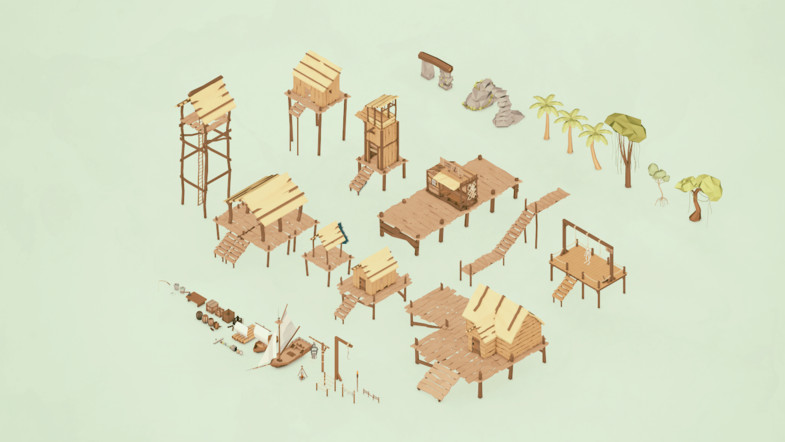 Low Poly Village Assets and 3d Models pack