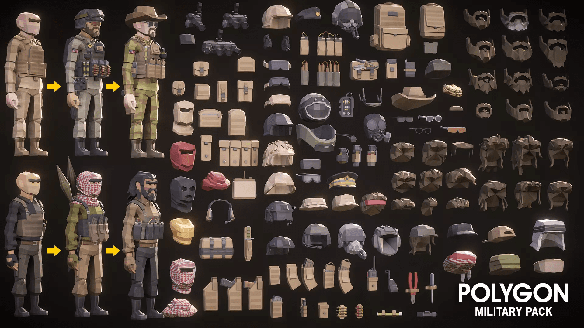 Low Poly Military Pack Military Gear Scopes Hats Helmets Backpacks