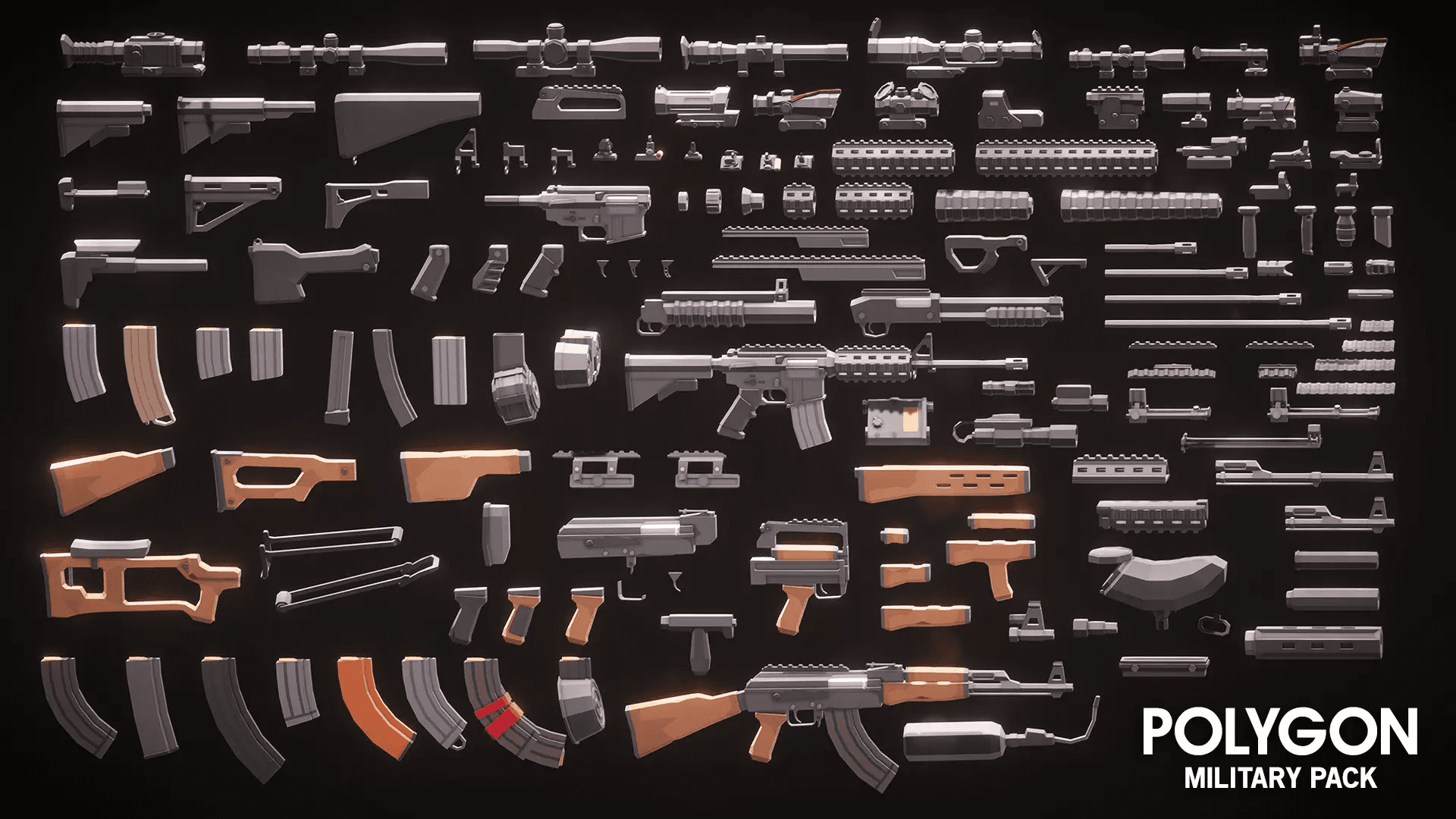Low Poly Military Pack Rifles ammo clips scopes