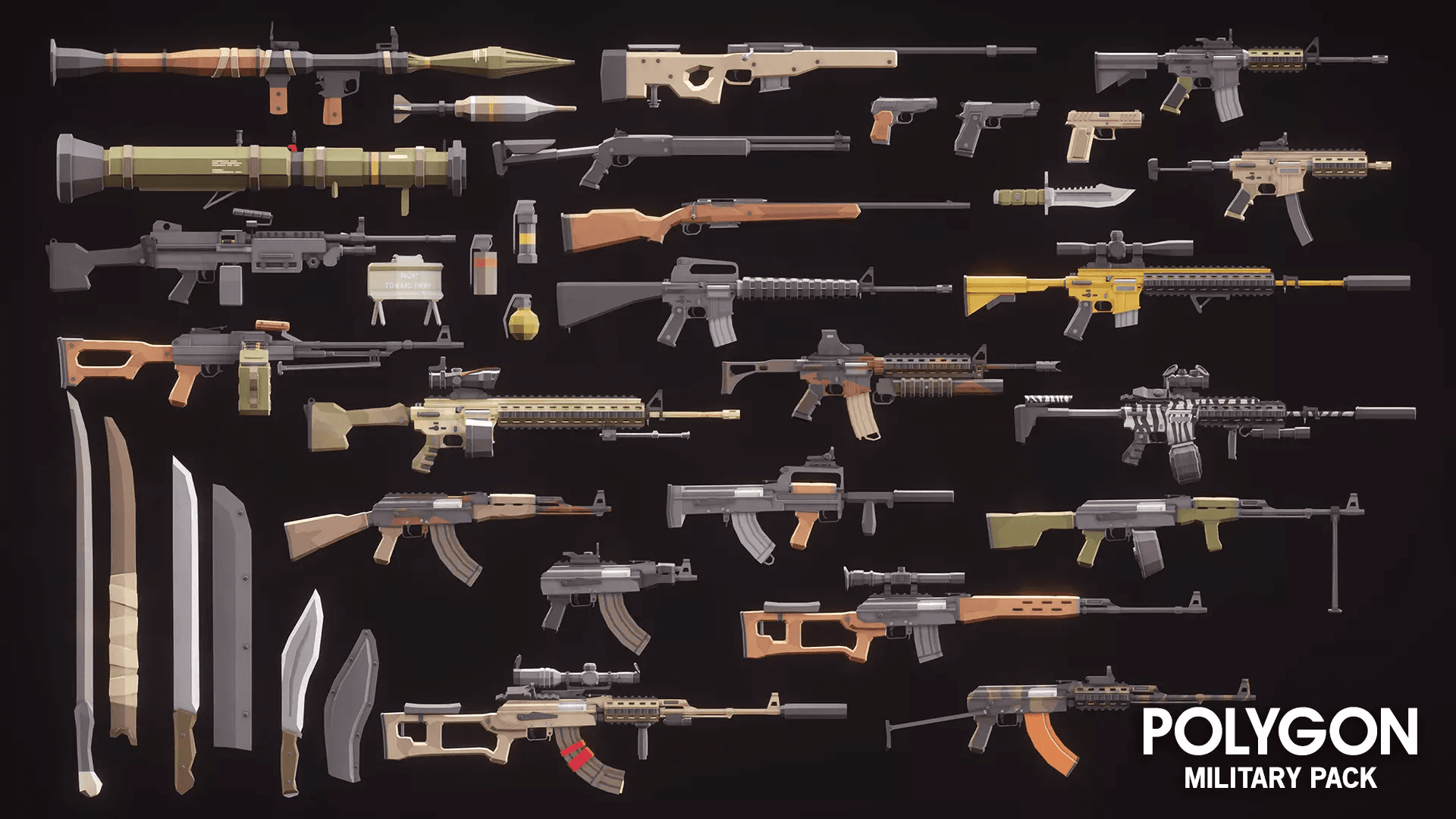 Low Poly Military Pack Weapons Rifles Semi Automatic