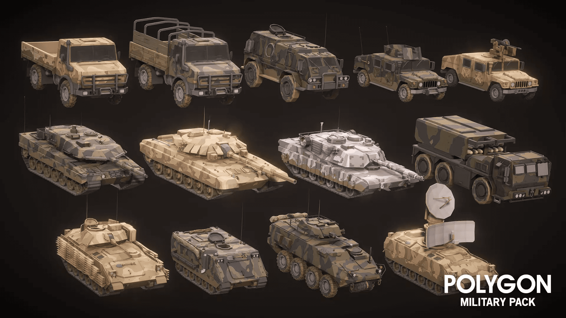 Low Poly Military Pack Humvee Tank APC Carriers Trucks