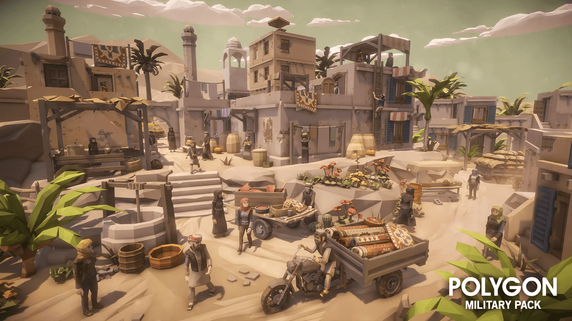Low Poly Military Pack Desert Town