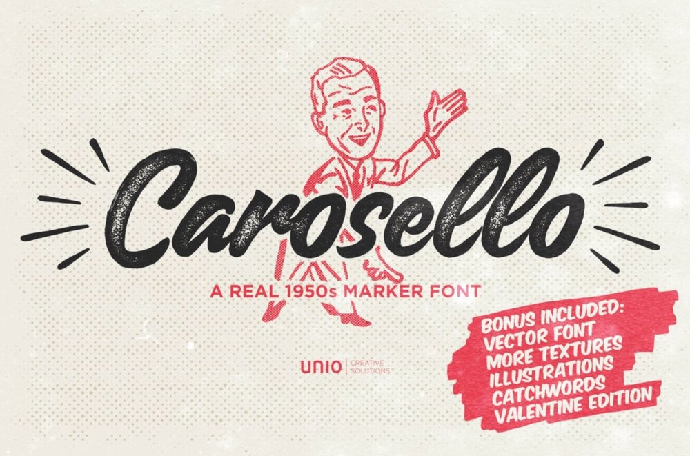 Carosello 1950s font drawn with a sharpie