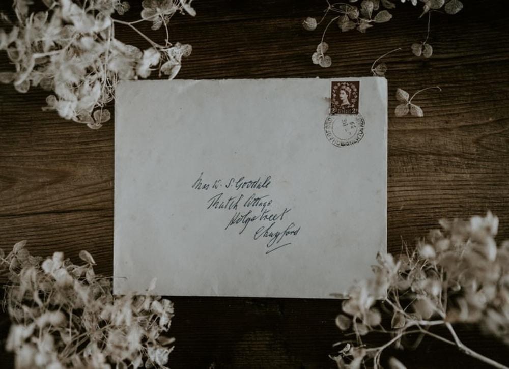 Letter written in cursive font