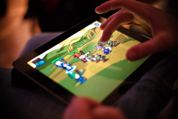 A game being played on a tablet