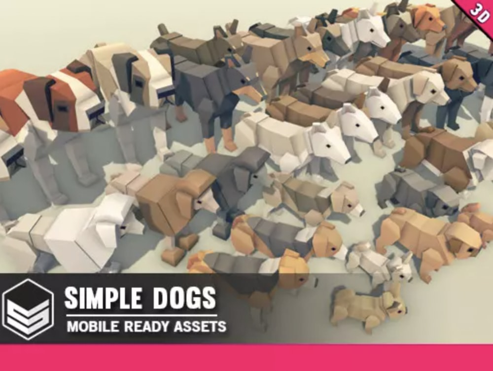 low poly dogs