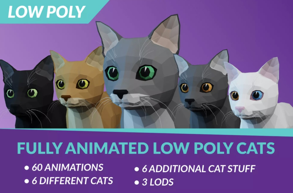 low poly cats