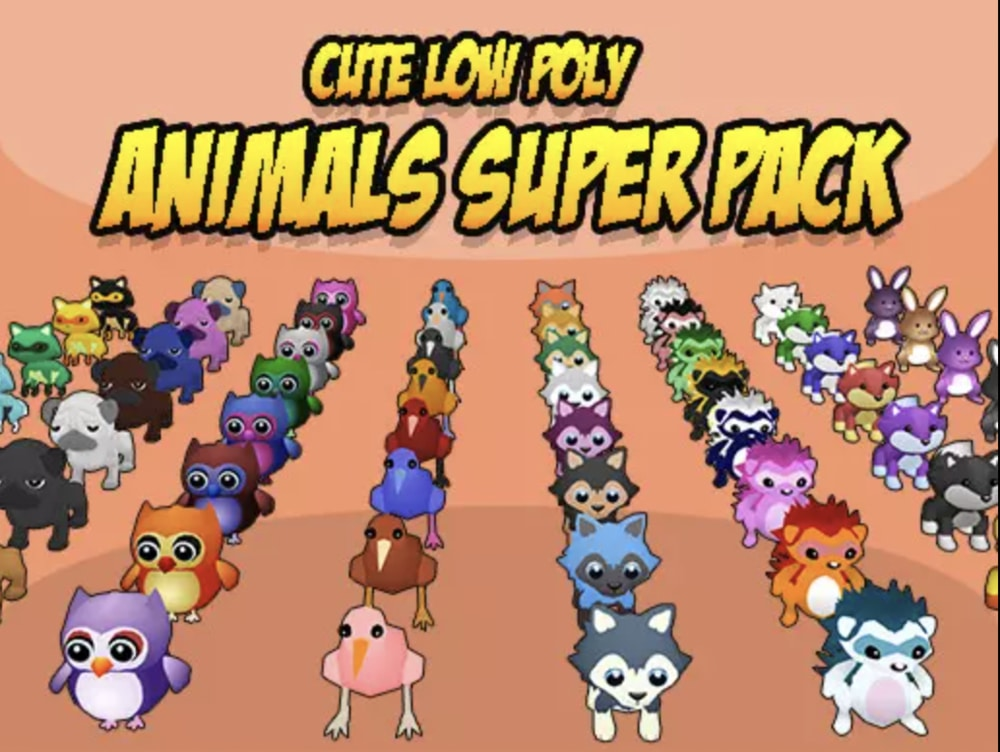 cute low poly animals