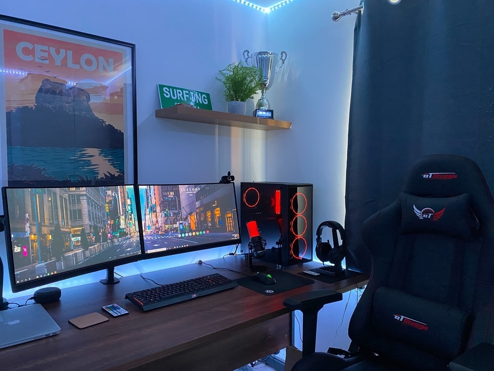 A full gaming setup with a gaming chair